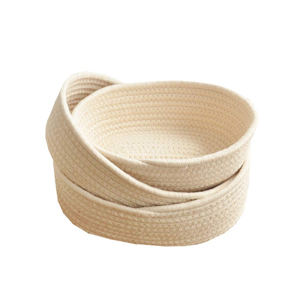 BQEE Cotton Rope Handmade Woven Home Storage Household Candy Toys Storage Basket Sundries Collection Box Candy Snack Food Tray SML Pack of 3 (Oval, Beige) by BQEE
