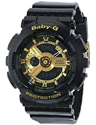 Casio Womens BA-110-1ACR Baby-G Goldtone Analog-Digital Display and Black Resin Strap Watch