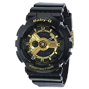511OMO6x4TL. SS300  - Casio Women's BA-110-1ACR Baby-G Goldtone Analog-Digital Display and Black Resin Strap Watch