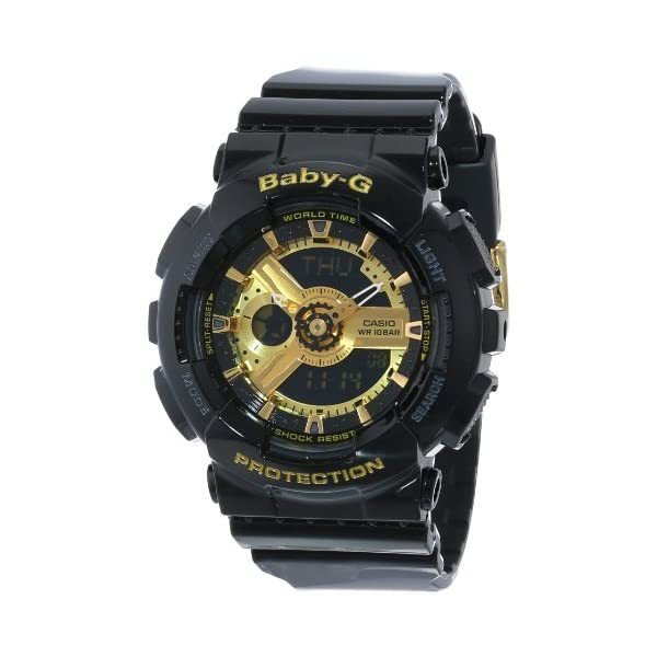 511OMO6x4TL. SS600  - Casio Women's BA-110-1ACR Baby-G Goldtone Analog-Digital Display and Black Resin Strap Watch