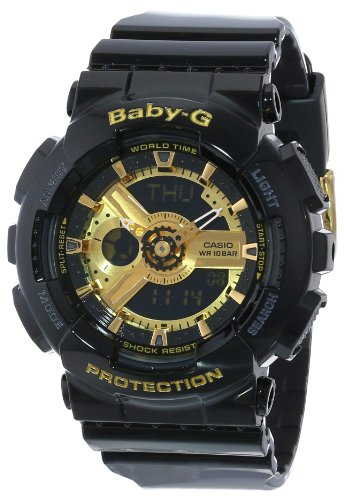 Casio Women's BA-110-1ACR Baby-G Goldtone Analog-Digital Display and Black Resin Strap Watch (Resin Strap Black)