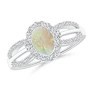Angara Oval Opal Split Shank Ring in Yellow Gold - October Birthstone Ring euFWP8CWH