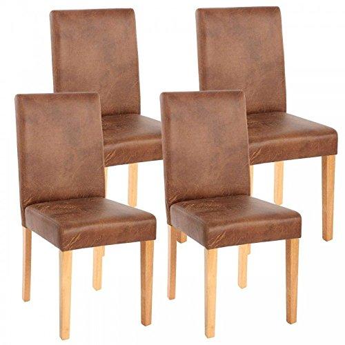 D/écoshop26 Lot de 4 chaises de Salle /à Manger Simili-Cuir Marron Vieilli Pieds clairs CDS04151
