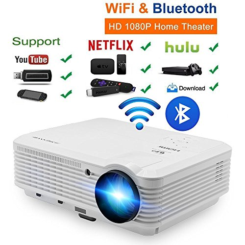 200' LCD LED HD Android6.0 Projector WiFi...