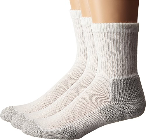 Thorlos Unisex Running Crew 3-Pair Pack White/Platinum Socks MD (Men's Shoe 5.5-8.5, Women's Shoe 6.5-10)