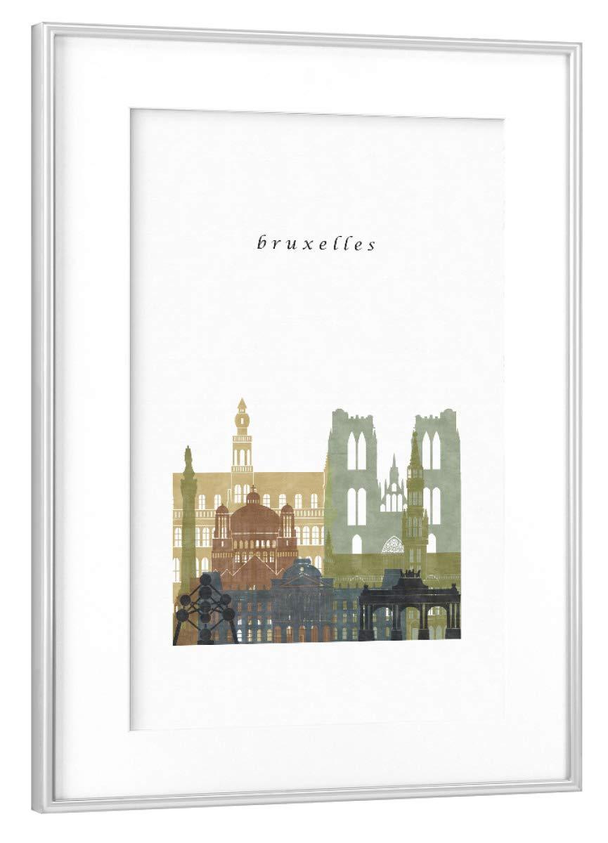 ArtboxONE Poster mit Rahmen Silber 60x40 cm Brussels Skyline Grün Braun von Grüngreendreams - gerahmtes Poster