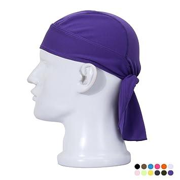 Ajustable Bandanna Gorra Sudor Wicking Casquillo de Ciclismo Gorra del Cráneo Secado Rápido y Transpirable Sombrero de Chemo Cabeza Envolver Pañuelo Al Aire ...