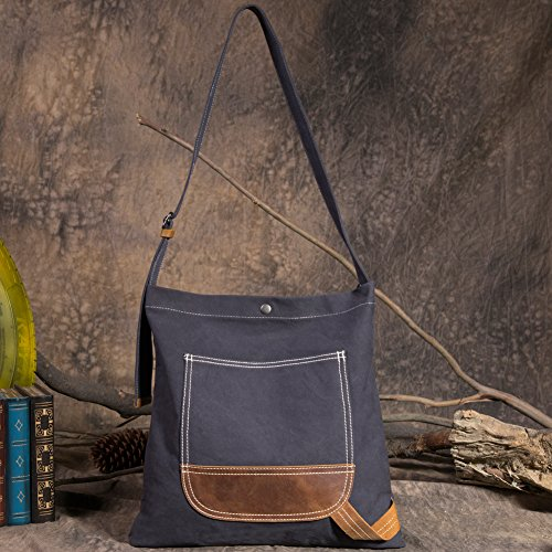 Crossbody Bags Bag for Simple Blue Over Satchel Kemy's Canvas Shoulder Women Black xfwzqwEZ5