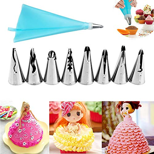 Decorating Tip Sets - Silicone Icing Piping Cream Pastry Bag With 8pcs Stainless Steel Nozzle Sets Cake Diy Decorating - Pastry Cookies Cookie Eggs Bands Merungue Cream Plastic Disposable Nozzle