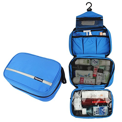 Travelling Toiletry Bag, Dopobo Portable Hanging Water-Resistant Wash Bag for Travelling, Business Trip, Camping (blue)