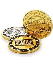 Ganzoo Poker-button set in etui (metalen munten), 1 x dealer button, 1 x klein knipper, 1 x grote blind