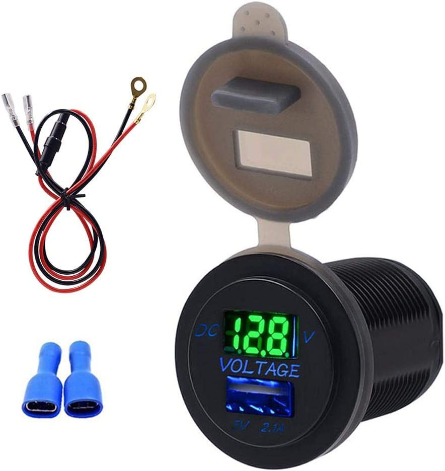Blue KIMISS Car USB Charger USB Ports Car Charger Voltage Display Voltmeter Vehicle Power IP66 Waterproof 2.1A