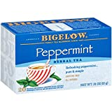 Bigelow Peppermint Herbal Tea 20 Bags (Pack of 6), 120 Tea Bags Total.   Caffeine-Free Individual Herbal Tisane Bags, for Hot Tea or Iced Tea, Drink Plain or Sweetened with Honey or Sugar