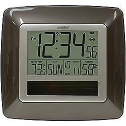 La Crosse Technology WT-8112U Solar Atomic Digital Clock with Indoor Temperature, Humidity