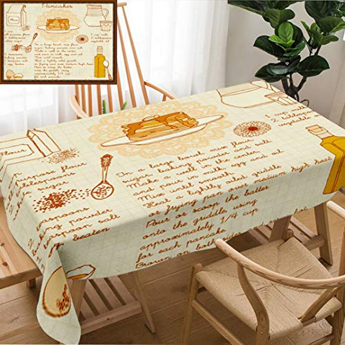 Unique Custom Design Cotton and Linen Blend Tablecloth Pancakes Recipe IllustrationTablecovers for Rectangle Tables, Small Size 48