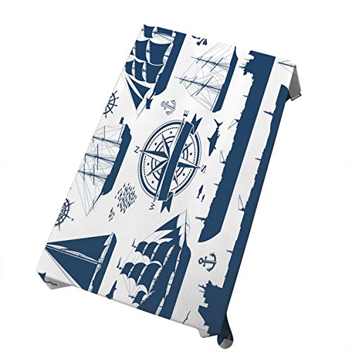 Fully Rigged Ship - Mugod Tablecloth Set of Fully Rigged Sailing Ships Yachts and Oil Tankers Isolated on White Decorative Dining Room Kitchen Rectangular Table Cover 60 X 104 Inches