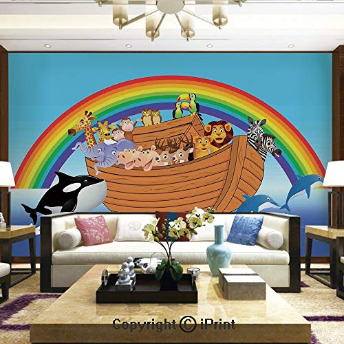 Mural Wall Art Photo Decor Wall Mural for Living Room or Bedroom,Noahs Ark with Funny Cute Animals Dolphins Swimming in Artistic Design Print,Home Decor - 100x144 inches