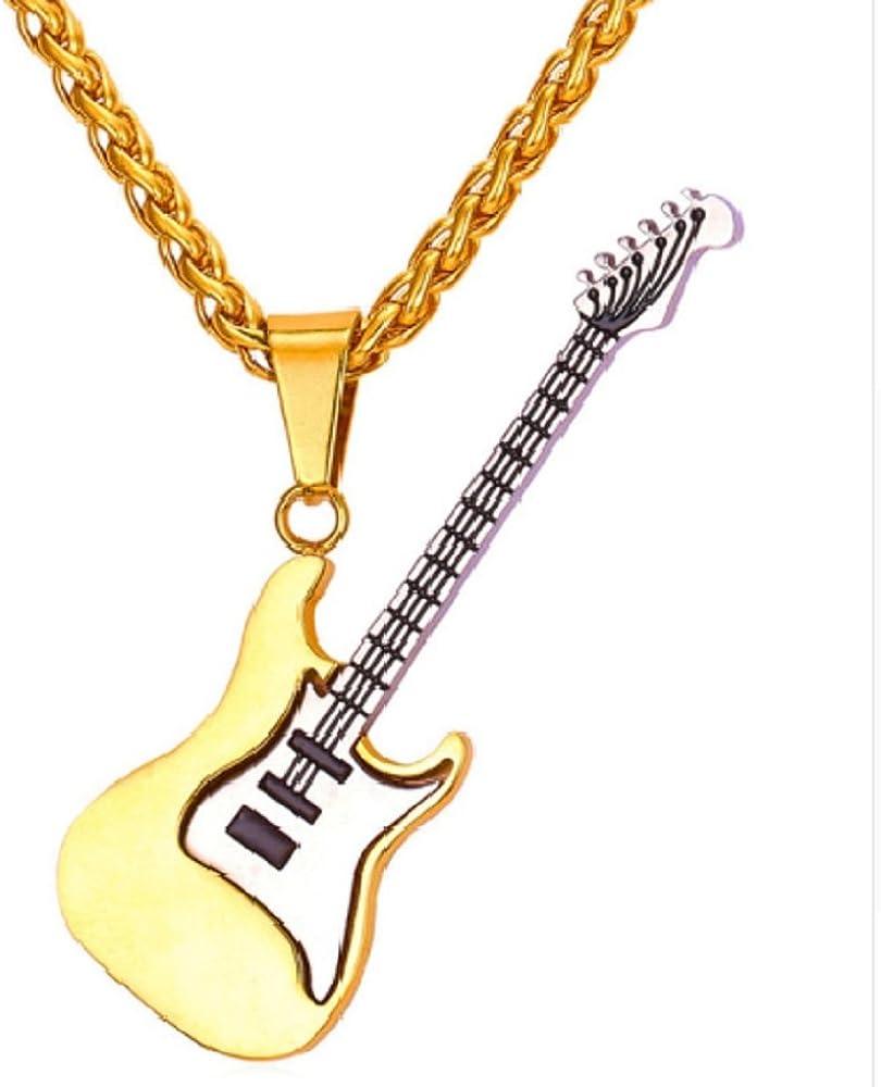 Collar hombre o mujer guitarra música en chapado en oro: Amazon.es ...