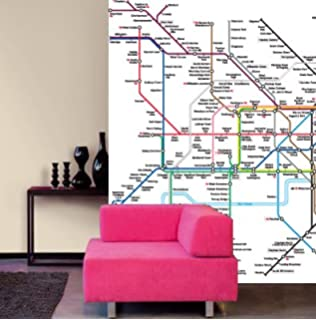 1wall london underground subway escalator stunning full colour london underground tube map photo wallpaper poster wall mural 270cm x 188cm 106 inches x sciox Choice Image