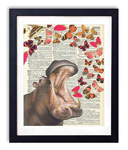Hippo With Butterflies Upcycled Vintage Dictionary Art Print 8x10
