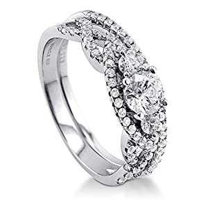 BERRICLE Rhodium Plated Sterling Silver 3-Stone Ring Set Made with Swarovski Zirconia Size 8