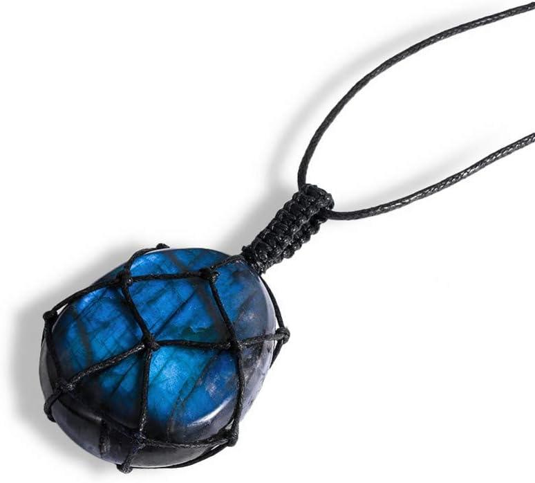 VBNMG Collar de Hombre Dragones Corazón Labradorita Collar Colgante de Piedra Natural Envoltura Trenza Yoga Macramé Collares Hombres Mujeres Collar Joyería