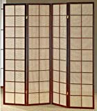 Legacy Decor 3 and 4 Panel Fabric In-Lay Wooden Screen Room Divider in a White, Cherry or Natural Finish