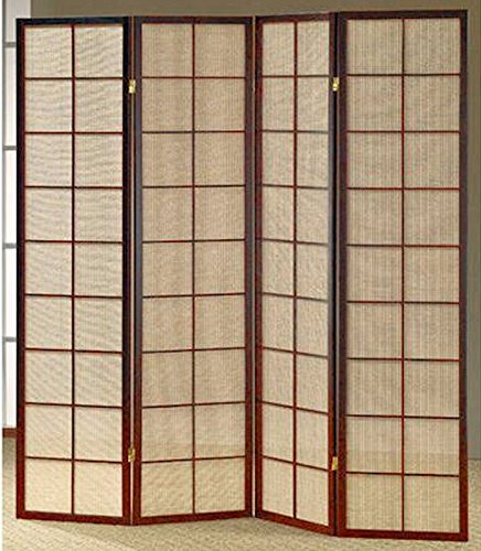 - Legacy Decor 3 and 4 Panel Fabric In-Lay Wooden Screen Room Divider in a White, Cherry or Natural Finish
