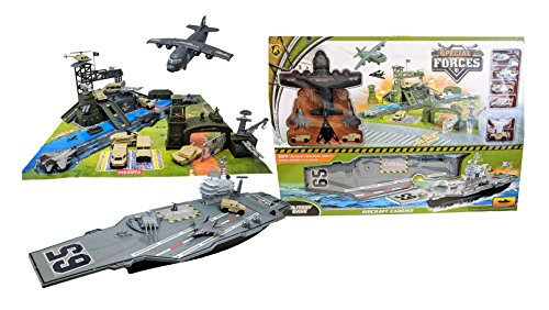 Toy Essentials Military Big Battle Base and Aircraft Carrier Combo Play Set with - Carriers Aircraft Military