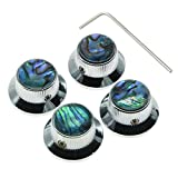 #1: KAISH 4x Abalone Top Chrome LP Top Hat Knobs with Set Screw Metal Bell Knobs for Guitar Bass with 6mm Shaft Pots