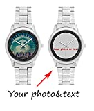 InterestPrint Personalized Custom Gift Men's Stainless Steel Casual Wrist Watch with Your Photo or Text