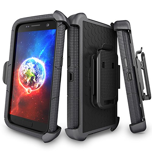 Swivel Lemans (Galaxy S7 Case, S7 Case, UrbanDrama 4 in 1 Heavy Duty Rugged Hybrid Shockproof Cover with Kickstand Holster Case Belt Swivel Clip Full-Body Protection Case for Samsung Galaxy S7, Black)