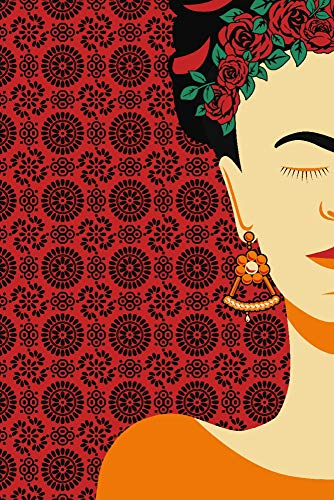 Background Signed - Frida - Vector Silhouette - Boho Pattern Background (24x36 SIGNED Print Master Giclee Print w/Certificate of Authenticity - Wall Decor Travel Poster)
