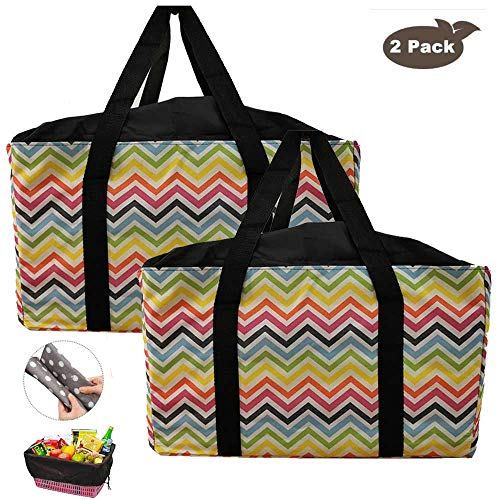 Reusable Grocery Bags, Extra-Large Oxford Cloth Shopping Totes, Drawstring Tote for No-Dropping, Set of 2 Collapsible, Long Handles Reinforced Bottom, Foldable Shopping Bags (Color stripe)