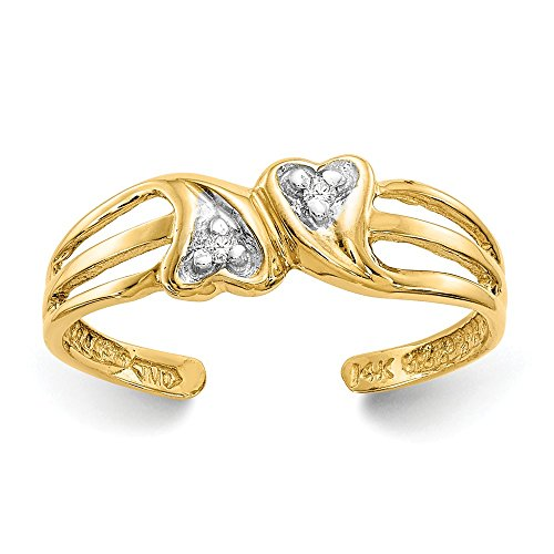 Mia Diamonds 14k Solid Yellow Gold (.02cttw) Double Ladies Heart .02Ct Diamond Toe Ring Diamond 18k White Gold Heart Ring