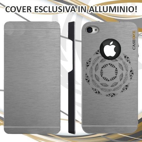 CUSTODIA COVER CASE CERCHIO PIUME PER IPHONE 4S ALLUMINIO TRASPARENTE