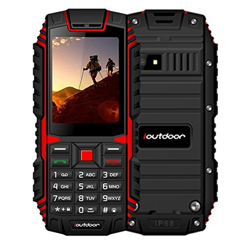 ioutdoor T1 Triple Proofing Phone 2.4 inch, MTK6261A Chipset, 21 Keys, LED Flashlight, FM, TF, Dual SIM, GSM Network (Red) by IOUTDOOR