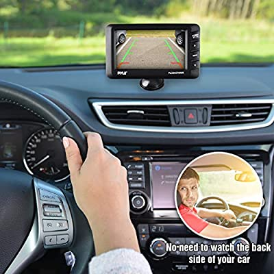 """Wireless Rear View Backup Camera - Car Parking Rearview Monitor System and Reverse Safety w/Distance Scale Lines, Waterproof, Night Vision, 4.3"""" LCD Screen, Video Color Display for Vehicles - Pyle"""