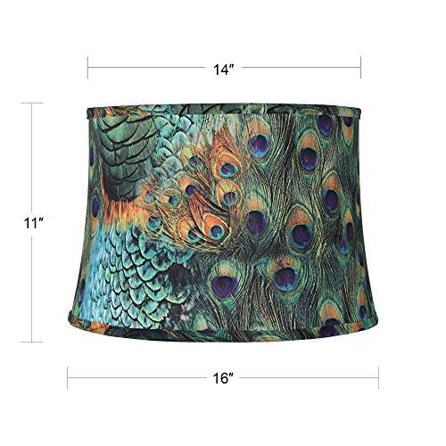 Peacock-Print-Drum-Lamp-Shade-14x16x11-Spider