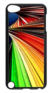 iPod 5 Cases, Hot Sale Personalized Abstract Colorful Lines Angle Fun Protective Hard PC Plastic Black Edge Case Cover for Apple iPod Touch 5 5th Generation