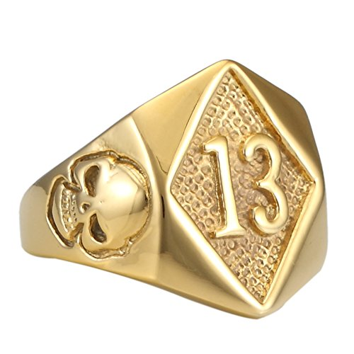 Lucky Stainless Steel Ring - 316L Stainless Steel Lucky number No. 13 Motorcycle Biker Ring Evil Skull Golden ring (9)