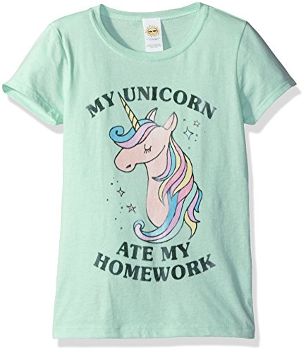 Lost Green (Lost Gods Big Girls' Unicorn Ate My Homework Graphic T-Shirt, Mint, XL)