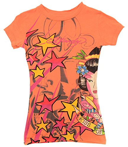 Ed Hardy Kids Girls Kiss Of Death Geisha Short Sleeve T-Shirt - Orange - 12
