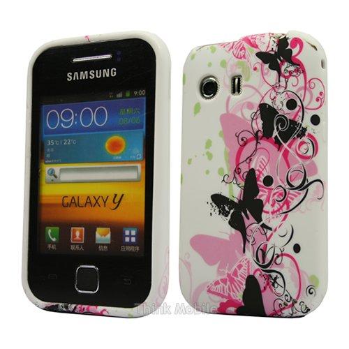 Samsung Galaxy Y S5360 Caso Elegante - Transparente S-Line TPU Gel Funda Case Para Samsung Galaxy Y S5360 - thinkmobile Butterfly 1