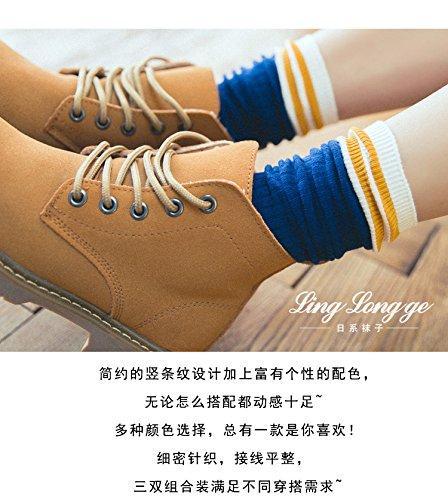Generic Piles of socks spring and autumn and winter wind Korean Japanese School Girls striped socks cotton tube socks stockings skateboard Korean summer