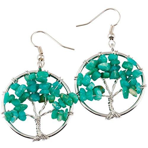 SUNYIK Amazonite Tree of Life Dangle Earrings for Women(Silver Plated) ()