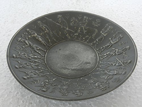 Old Victorian King With Army Embossed Round Pewter / Antimony Fruit Bowl / Plate