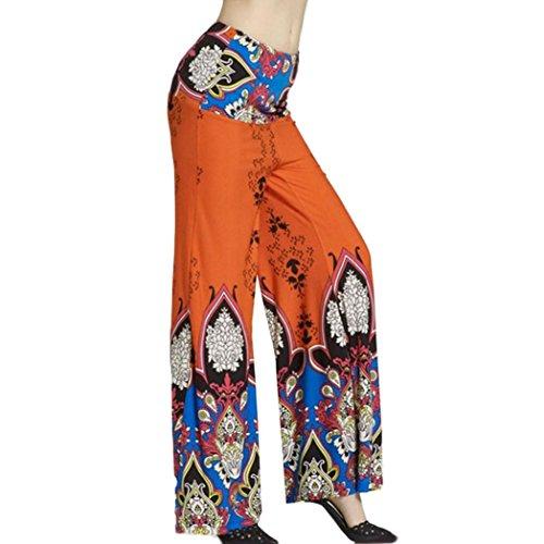 Hula Costume Patterns (Hot Pants!Elevin(TM)2017 Women Ladies Summer High Elastic Waist Print Floral Sport Wide Leg Pants Trousers (XL, Orange))
