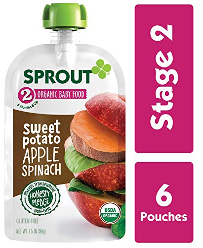 Sprout Organic Stage 2 Baby Food Pouches, Sweet Potato Apple Spinach, 3.5 Ounce (Pack of 6)