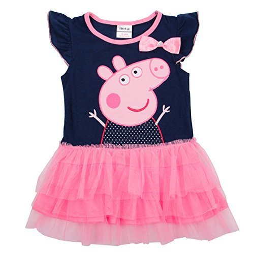 [LaLaMa Little Girls' Pink Style Peppa Pig Princess Costume Tutu Dress Skirt 3-4Y Color: Blue Size: 3-4 Years] (Little Pig Costumes)